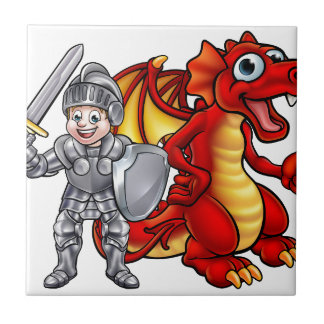 Cartoon Dragon and knight 2017 A3-01 Tile