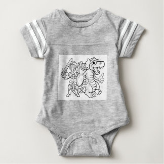 Cartoon Dragon and Knight Baby Bodysuit