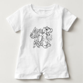 Cartoon Dragon and Knight Baby Romper