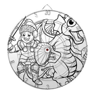 Cartoon Dragon and Knight Dartboard