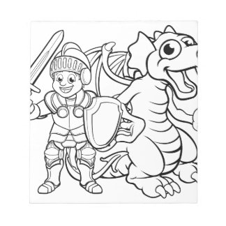 Cartoon Dragon and Knight Notepad
