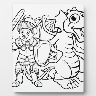 Cartoon Dragon and Knight Plaque