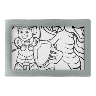 Cartoon Dragon and Knight Rectangular Belt Buckle