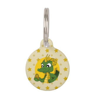 Cartoon dragon pet name tag