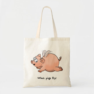 Cartoon drawing of a pig with wings flying tote bag