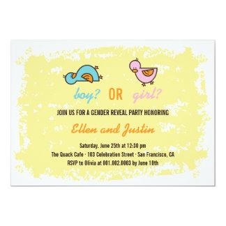 "Cartoon Ducks Baby Boy Girl Gender Reveal Party 5"" X 7"" Invitation Card"
