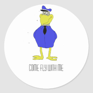 Cartoon Eagle Airplane Pilot Classic Round Sticker