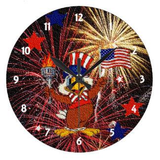 Cartoon Eagle and Fireworks Clock
