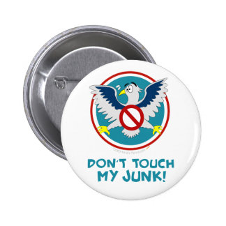 Cartoon Eagle Don't Touch My Junk Funny TSA Logo 2 Inch Round Button