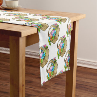 Cartoon Easter Basket Eggs Short Table Runner