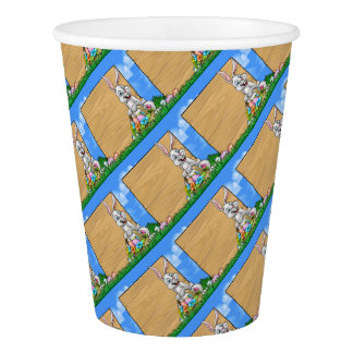 Cartoon Easter Bunny Background Sign Paper Cup