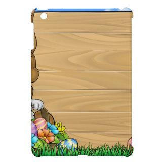 Cartoon Easter Bunny Eggs Background Sign Cover For The iPad Mini