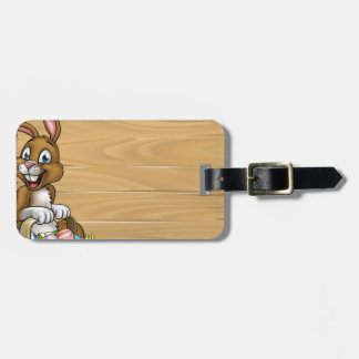 Cartoon Easter Bunny Eggs Background Sign Luggage Tag