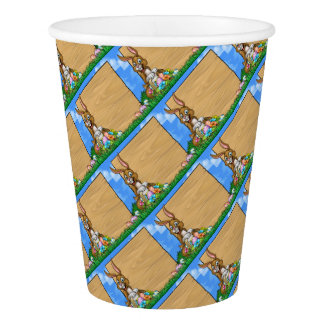 Cartoon Easter Bunny Eggs Background Sign Paper Cup