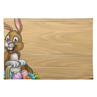 Cartoon Easter Bunny Eggs Background Sign Placemat