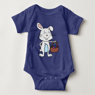 Cartoon Easter Bunny Holding a basket of Eggs Baby Bodysuit