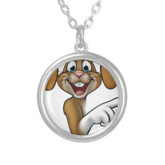 Cartoon Easter Bunny Rabbit Pointing Silver Plated Necklace