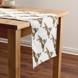 Cartoon Easter Bunny Rabbit Short Table Runner