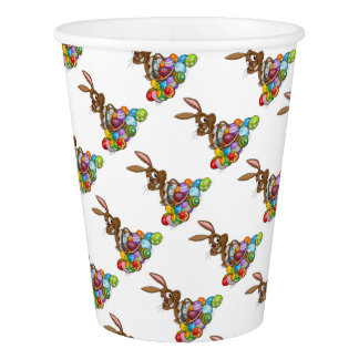 Cartoon Easter Bunny with Eggs Basket Paper Cup