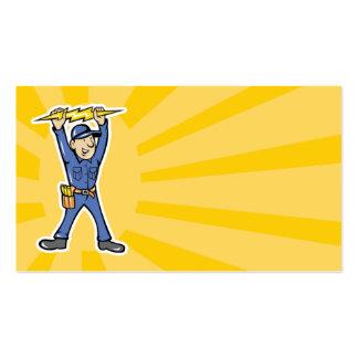Cartoon Electrician holding electricity lightning Business Card Template