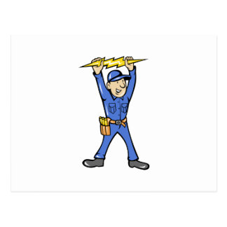 Cartoon Electrician holding electricity lightning Postcard