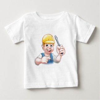 Cartoon Electrician Holding Screwdriver Baby T-Shirt