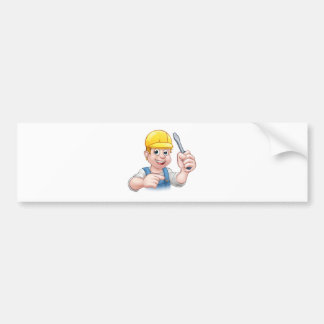 Cartoon Electrician Holding Screwdriver Bumper Sticker