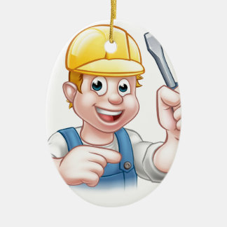 Cartoon Electrician Holding Screwdriver Ceramic Ornament