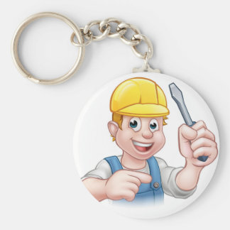 Cartoon Electrician Holding Screwdriver Keychain