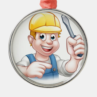 Cartoon Electrician Holding Screwdriver Metal Ornament