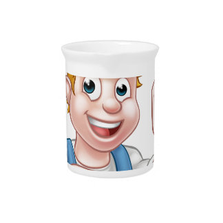 Cartoon Electrician Holding Screwdriver Pitcher