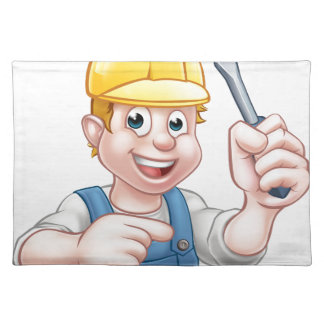 Cartoon Electrician Holding Screwdriver Placemat