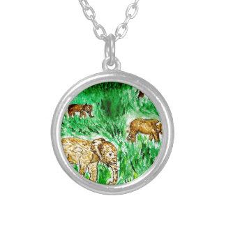 Cartoon Elephant3 Silver Plated Necklace