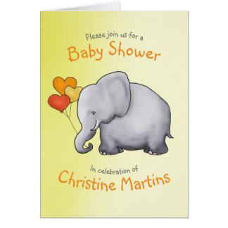 Cartoon Elephant Neutral Baby Shower Invitation