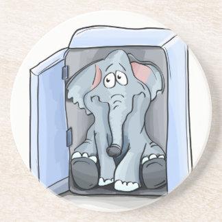 Cartoon elephant sitting inside a refrigerator coaster