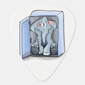 Cartoon elephant sitting inside a refrigerator guitar pick