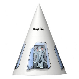 Cartoon elephant sitting inside a refrigerator party hat