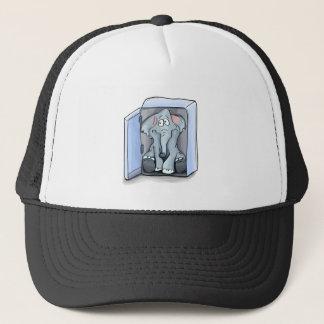 Cartoon elephant sitting inside a refrigerator trucker hat