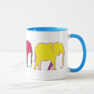 Cartoon Elephants Colorful Bright Minimal Bold Mug