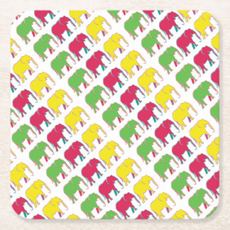 Cartoon Elephants Colorful Yellow Pink Green Chic Square Paper Coaster