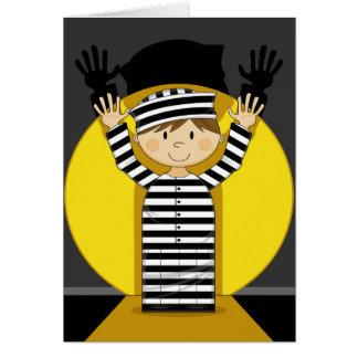 Cartoon Escaped Prisoner in Spotlight Card