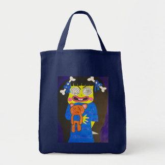 Cartoon Evil Zombie Girl Tote Bag