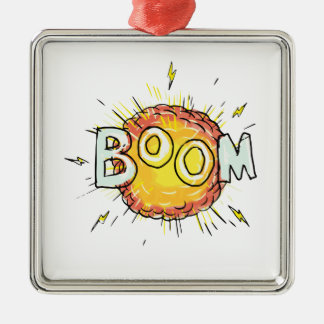 Cartoon Explosion Boom Metal Ornament