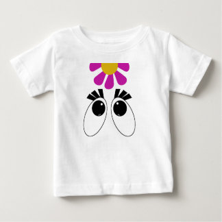 Cartoon Eyes with Pink Yellow Flower Tees