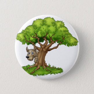 Cartoon Fairytale Big Bad Wolf and Tree 2 Inch Round Button