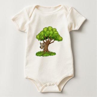 Cartoon Fairytale Big Bad Wolf and Tree Baby Bodysuit