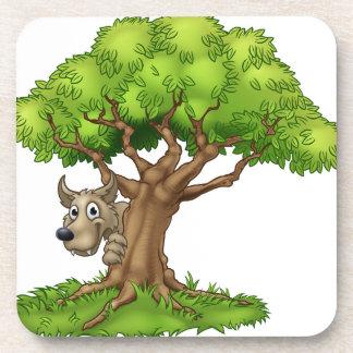 Cartoon Fairytale Big Bad Wolf and Tree Coaster
