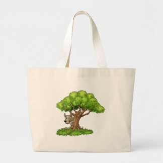 Cartoon Fairytale Big Bad Wolf and Tree Large Tote Bag