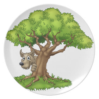 Cartoon Fairytale Big Bad Wolf and Tree Plate