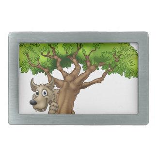 Cartoon Fairytale Big Bad Wolf and Tree Rectangular Belt Buckle